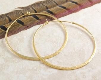 ON SALE NOW Large Gold Hoop Earrings, Hammered Hoops