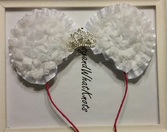 White Swiss Dot Minnie Mouse Ears with Silver Crown