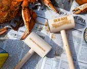 Set of 15 Custom Engraved Crab Mallet Bottle Openers with Two-Sided Decoration