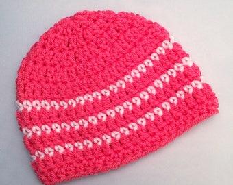 Girls Newborn Baby Beanie Ready To Ship Girls Hat Tropical Pink Crochet Baby Beanie Baby Shower Gift Baby