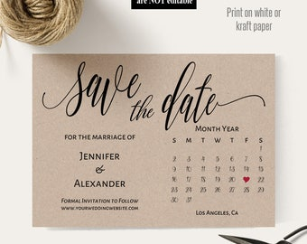 Save the Date, Printable Save the Date Wedding template, Save the date card, Instant download self editable PDF A612