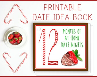 At-Home Date Night Flip Book, Printable Date Idea Cards, couples gift, INSTANT DOWNLOAD