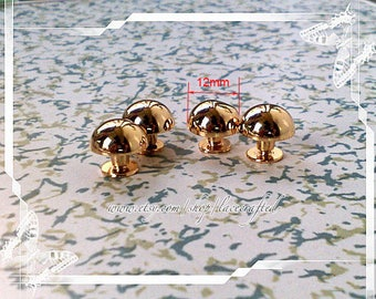 10 pieces 12mm Golden Domed Purse Screw feet stud, anti Brass bag feet  for bag purse making ,Nailheads Spike DIY