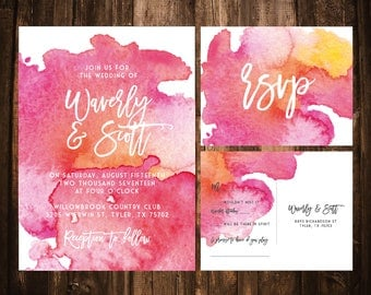 Bright Pink Watercolor Watercolor Wedding Invitaitons; Printable OR set of 25