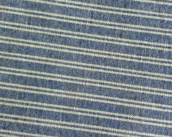 Vintage Blue and White Striped Fabric, Blue and White Upholstery Fabric