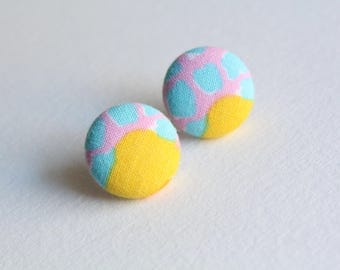 H A N D M A D E  Fabric covered button earrings.