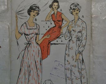 """Lovely 1950s tie waist nightdress pattern bust 44"""" - would make a great 1940s look day dress!"""
