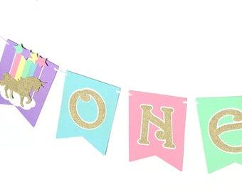 Unicorn ONE Banner. Pastel Rainbow  first birthday party banner. Magical unicorn party, party decorations. I am One, bunting, garland.
