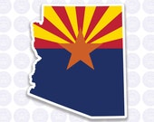 Arizona Decal - AZ State Flag Decal - Arizona State Bumper Sticker - State of Arizona Decal - AZ Flag Decal Permanent or Removable Sticker