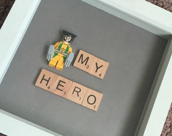 My Hero Small Box Frame. Bedroom Decor. Brother, Uncle, Dad Gift. Grey Frame. Wolverine Lego Figure
