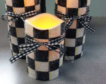 Checkered Timer Candle