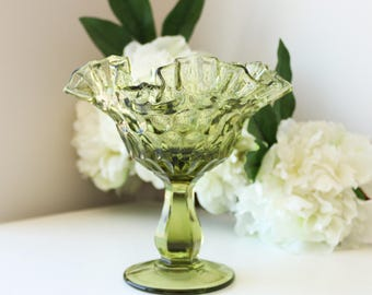 Green Glass Footed Compote - Pedestal Bowl - Candy Dish - Colored Glassware - Ring Dish - Jewelry Dish - Thumbprint Colonial Green by Fenton