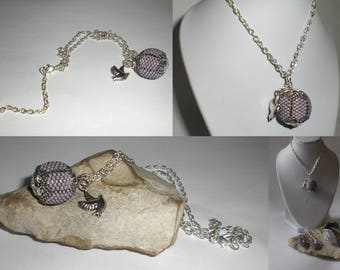 Purple and silver beaded bead pendant