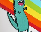 Annoying dinosaur Patch - Sew on Iron on Patch - green dino Patch - Pun Patch - Cute Patch - Katie Abey Design