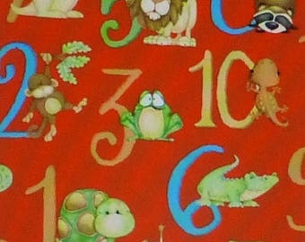 Summer Sale- ABC~123, Numbers on Red~Cotton Fabric, Quilt,by Henry Glass, Fast Shipping CH211
