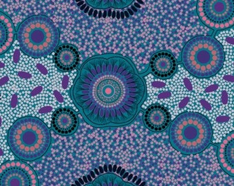 Meeting Places Blue~Australian Aboriginal Cotton Fabric, by M & S Textiles~Fast Shipping,N515