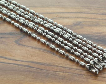 Antique Silver Necklace Chain 1.5mm Ball