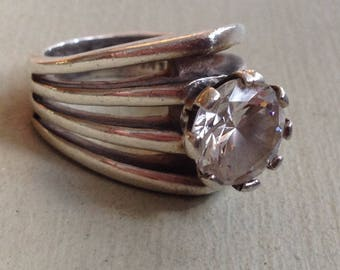 Superb Sterling Silver Mexico 14.9g Prong Set Round Cut Clear Crystal Ring Size UK P - US 7.5