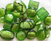 RESERVED FOR REBECCA - 24 Pc Mixed Green Beads | Olivine Green | Murano Style Glass | Lampwork Style Glass | Glass Beads