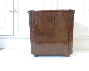 Mid Century Faux Bois Metal Waste Trash Can - Metal Wood Grain Desk Waste Can