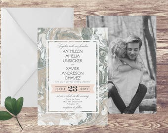 The Alexandria Wedding Invitation with Photograph and RSVP, Photograph Wedding Invitations, Marble Wedding Invitation, Elegant Wedding