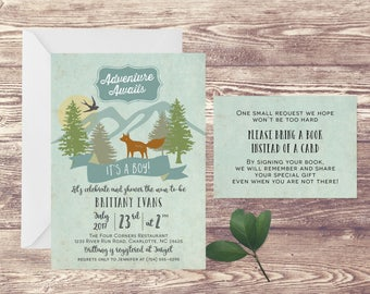 Adventure Awaits Baby Shower Invitation with Book Insert Card, Adventure Baby Shower Invite, Baby Sprinkle, Couples Baby Shower Invitation