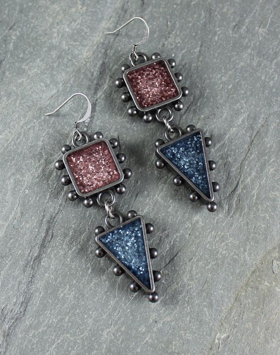 Bohemian Chic ~ Rustic Romantic ~ Pink and Blue Sparkle earrings