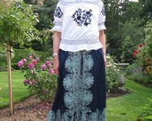 Vintage Off The Shoulder Embroidered Cotton Gypsy Blouse with Puff Sleeves and Elasticated Waist