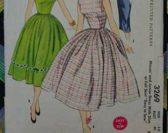 On Sale 1950s McCalls Dress Pattern #3269 Bust 30 Full Skirt