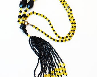 Art Deco Czech Black Jet and Citrine Yellow Glass Long Tassel Flapper Necklace
