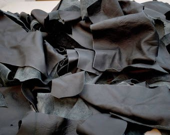 Black Cowhide leather scrap pieces Grainy leather 2-3 hands