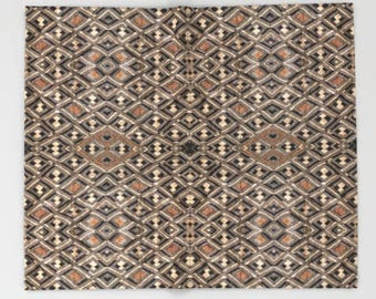 African Art Fleece Blanket ~ Featuring Exclusive Kuba Cloth Design - Variation #2 / Polyester and Sherpa Fleece