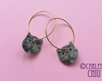 Grey Cat Hoop Earrings - Stainless Steel wire, Valentine's day, Birthday party, 16K gold plated brass Nickel free illustration collage