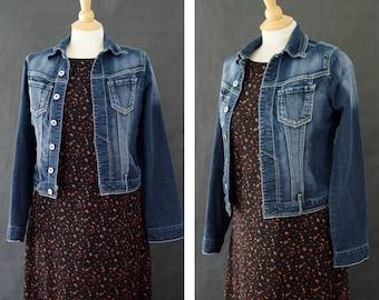 90s Denim Jean Jacket, 90s Cropped Denim Jacket, Dark Wash Denim, Size Medium Juniors, Paris Blues Fitted Denim Jacket, Back to School