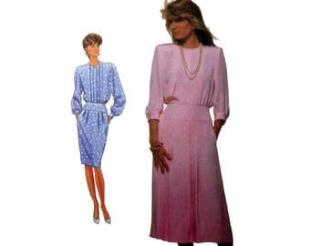 Women's Dress Pattern with Pleated Skirt, Long Sleeves Misses' Size 14 Bust 36 Uncut Simplicity 9015