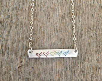 Rainbow Pride Necklace, Pride Necklace, Love is Love Bar Necklace, Rainbow Necklace, Heart Necklace, Rainbow Jewelry, Easter gift, Easter
