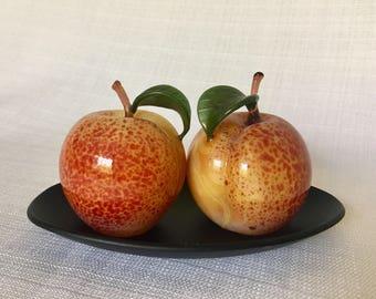 Art Glass Peach Salt & Pepper Set