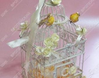 gold and cream wedding birdcage card holder wedding money holder with lovely birds ivory unique wedding