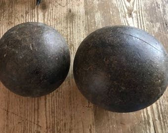 Pair Antique Wood Bowling Ball
