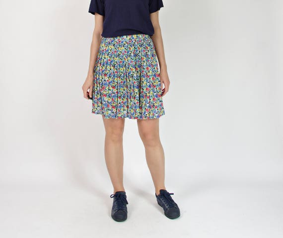 80s Pleated transparent floral girly skirt / size S-M