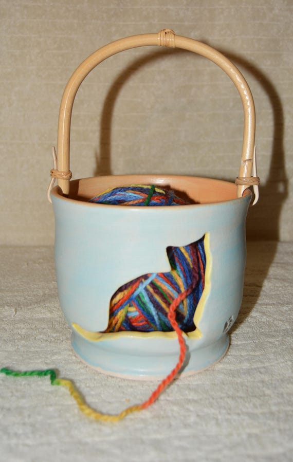 Cat Yarn Bowl, Stoneware Yarn Bowl, Bamboo Handle, Pastel Blue, Orange, Yellow, Knitting, Crocheting, Yellow Cat, Yarn,