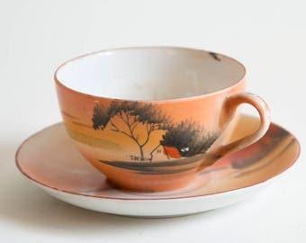 Vintage Tea Cup and Saucer Made in Japan Landscape