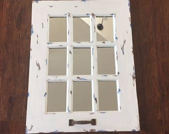 Window mirror, rustic, distressed light soft warm white, blues, 9 panel