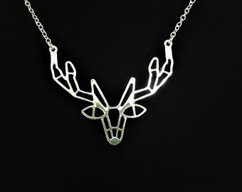 Geometric Deer Necklace \\ Silver Jewelry \\ Silver Chain