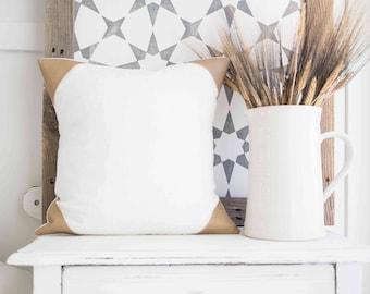 Linen & Faux Leather Pillow Cover Farmhouse 16  lnch