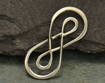 Infinity Connector Link Pendant Center Sterling Silver Double Infinity, Figure Eight Link,  23mmx 10mm