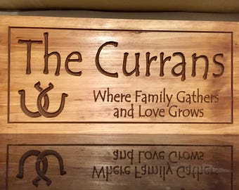 Carved Wooden Signs, Last Name Signs, Cabin Signs, Colts Horseshoe, Wooden wall art, Custom Wood Sign, Personalized Signs, Benchmark Signs