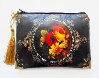 Antiquated floral waterproof pouch, Black and Gold Waterproof Ladies Wallet, oilcloth bag, wipe clean wallet.