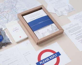 SAMPLE - Boxed Wedding Invitation. London Themed Wedding Stationery. London Skyline & Tube Sign.