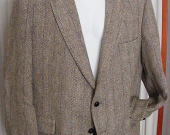 51% OFF Men's Sports Coat Harris Tweed Tan Single Breasted 44R Vintage Wool Blazer